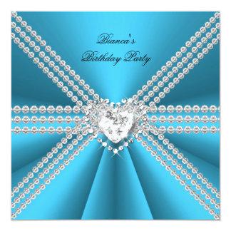 Elegant 50th Birthday Silver Blue Diamond Heart Invitation