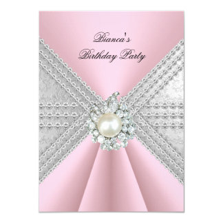 Elegant 50th Birthday Silver Pink Diamond Pearl Card