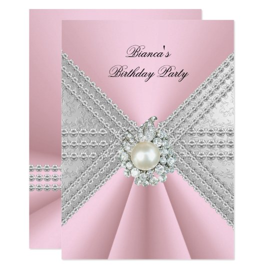 Elegant 50th Birthday Silver Pink Diamond Pearl Invitation