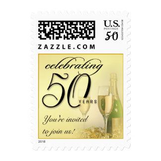 Elegant 50th Celebration Party Invitation Postage