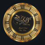 "Elegant 50th Golden Anniversary Large Clock<br><div class=""desc"">50th Golden Wedding Anniversary. Decorative Clock in a gold damask background with faux gold metal accents. 100% Customizable. Ready to Fill in the box(es) or Click on the CUSTOMIZE button to add, move, delete, resize or change any of the text or graphics. Made with high resolution vector and/or digital graphics...</div>"