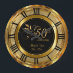"""Elegant 50th Golden Anniversary Large Clock<br><div class=""""desc"""">50th Golden Wedding Anniversary. Decorative Clock in a gold damask background with faux gold metal accents.100% Customizable. Ready to Fill in the box(es) or Click on the CUSTOMIZE button to add, move, delete or change any of the text or graphics. Made with high resolution vector and/or digital graphics for a...</div>"""