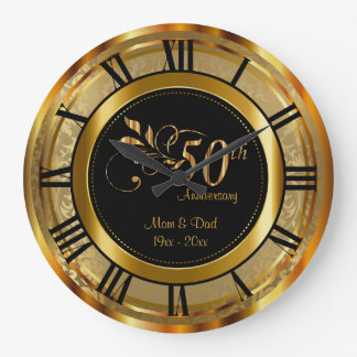 Elegant 50th Golden Anniversary Large Clock