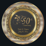"Elegant 50th Golden Anniversary Melamine Plate<br><div class=""desc"">50th Golden Wedding Anniversary. Decorative Plates. 100% Customizable. Ready to Fill in the box(es) or Click on the CUSTOMIZE button to add, move, delete or change any of the text or graphics. Made with high resolution vector and/or digital graphics for a professional print. NOTE: (THIS IS A PRINT. All zazzle...</div>"
