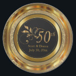 "Elegant 50th Golden Anniversary Plate<br><div class=""desc"">50th Golden Wedding Anniversary. Decorative Plates. 100% Customizable. Ready to Fill in the box(es) or Click on the CUSTOMIZE button to add, move, delete or change any of the text or graphics. Made with high resolution vector and/or digital graphics for a professional print. NOTE: (THIS IS A PRINT. All zazzle...</div>"