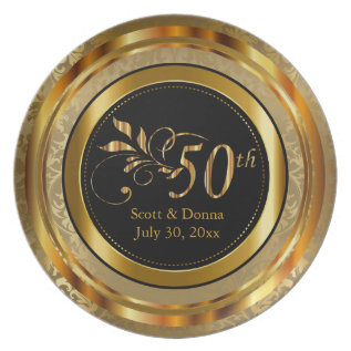Elegant 50th Golden Anniversary Plate at Zazzle