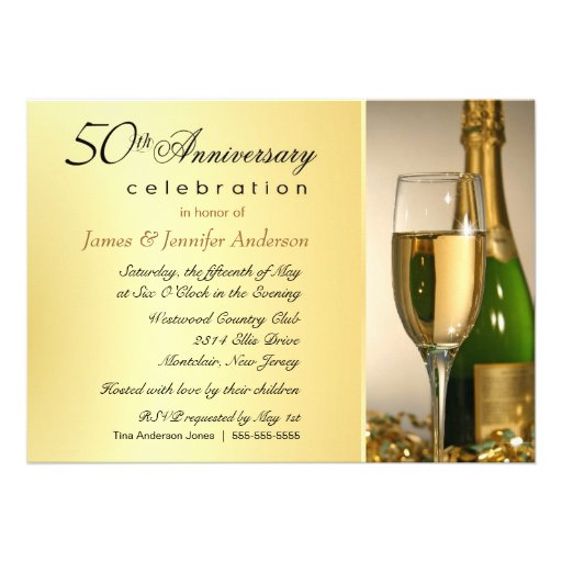 Elegant 50th Golden Annniversary Party Invitations