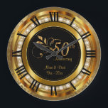 "Elegant 50th Golden Diamond Anniversary Large Clock<br><div class=""desc"">50th Golden Diamond Wedding Anniversary. Decorative Clock. 100% Customizable. Ready to Fill in the box(es) or Click on the CUSTOMIZE button to add, move, delete or change any of the text or graphics. Made with high resolution vector and/or digital graphics for a professional print. NOTE: (THIS IS A PRINT. All...</div>"