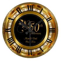 Elegant 50th Golden Diamond Anniversary Large Clock