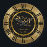 """Elegant 50th Golden Diamond Anniversary Large Clock<br><div class=""""desc"""">50th Golden Diamond Wedding Anniversary. Decorative Clock. 100% Customizable. Ready to Fill in the box(es) or Click on the CUSTOMIZE button to add, move, delete or change any of the text or graphics. Made with high resolution vector and/or digital graphics for a professional print. NOTE: (THIS IS A PRINT. All...</div>"""