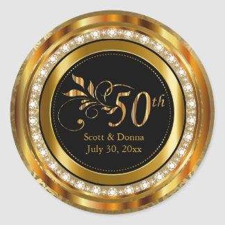 Elegant 50th Golden Wedding Anniversary Classic Round Sticker