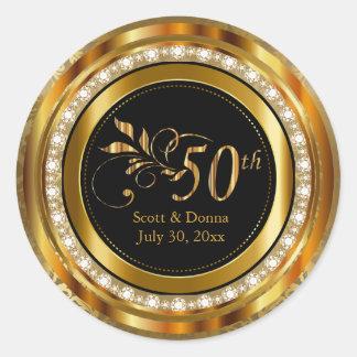 Elegant 50th Golden Wedding Anniversary Classic Round Sticker