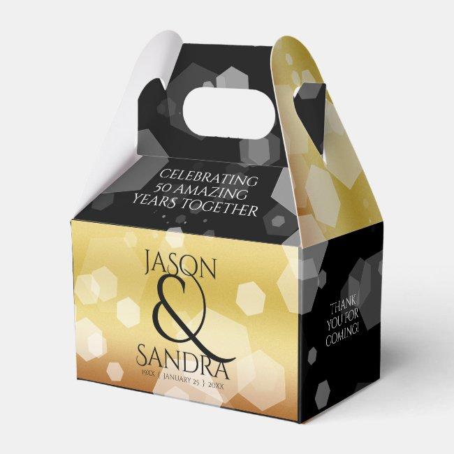 Elegant 50th Golden Wedding Anniversary Favor Box