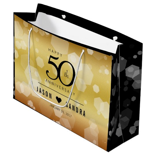 Elegant 50th Golden Wedding Anniversary Large Gift Bag