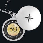 """Elegant 50th Golden Wedding Anniversary Locket Necklace<br><div class=""""desc"""">Commemorate the 50th wedding anniversary with this elegant locket! Elegant black serif and sans serif lettering with hexagonal confetti on a golden gradient background add a memorable touch for this special occasion and extraordinary milestone. Customize with the happy couple's names, and dates for their golden anniversary. Design © W.H. Sim,...</div>"""