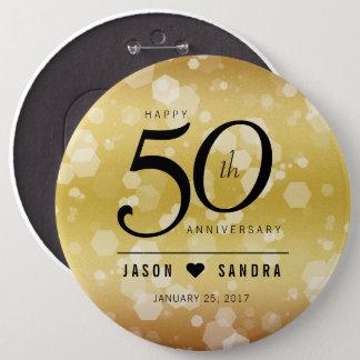 Elegant 50th Golden Wedding Anniversary Pinback Button
