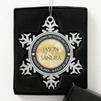 Elegant 50th Golden Wedding Anniversary Snowflake Pewter Christmas Ornament