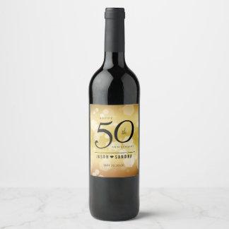 Elegant 50th Golden Wedding Anniversary Wine Label