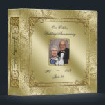 """Elegant 50th Wedding Anniversary 1.5&quot; Photo Binder<br><div class=""""desc"""">A Digitalbcon Images Design featuring a Gold color and Glitter Flourish Frame theme with a variety of custom images, shapes, patterns, styles and fonts in this one-of-a-kind &quot;Golden Wedding Anniversary&quot; 1.5&quot; Photo Binder. This elegant and attractive design comes with customizable Photo image and text lettering on the front and is...</div>"""