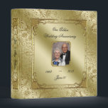 """Elegant 50th Wedding Anniversary 1&quot; Photo Binder<br><div class=""""desc"""">A Digitalbcon Images Design featuring a Gold color and Glitter Flourish Frame theme with a variety of custom images, shapes, patterns, styles and fonts in this one-of-a-kind &quot;Golden Wedding Anniversary&quot; 1&quot; Photo Binder. This elegant and attractive design comes with customizable Photo image and text lettering on the front and is...</div>"""