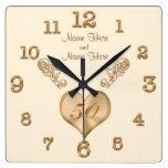 Elegant 50th Wedding Anniversary Clock with NAMES Square Wallclocks