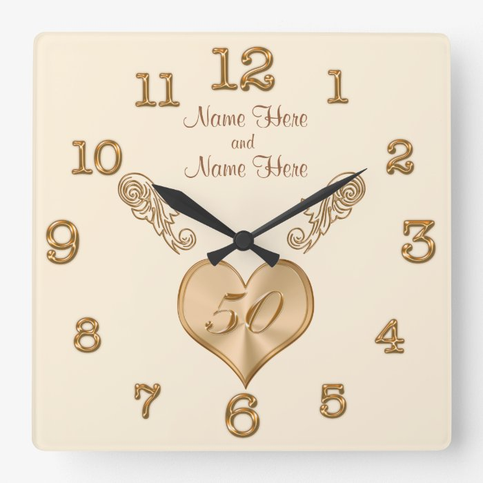 Elegant th wedding anniversary clock with names zazzle