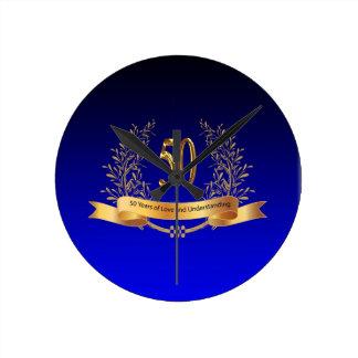 Elegant 50th Wedding Anniversary Gifts Round Wall Clocks