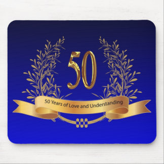 Elegant 50th Wedding Anniversary Gifts Mouse Pad