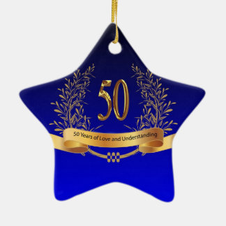 Elegant 50th Wedding Anniversary Gifts Double-Sided Star Ceramic Christmas Ornament