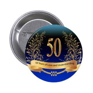 Elegant 50th Wedding Anniversary Gifts Pinback Button