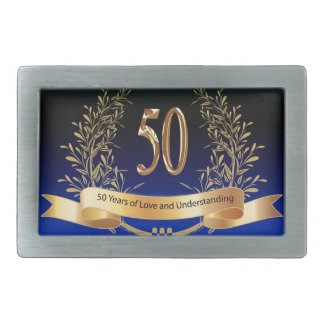 Elegant 50th Wedding Anniversary Gifts Rectangular Belt Buckle
