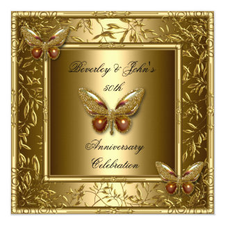 Elegant 50th Wedding Anniversary Gold Butterfly Card