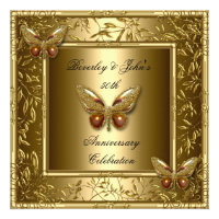 Elegant 50th Wedding Anniversary Gold Butterfly Personalized Invites (<em>$2.20</em>)