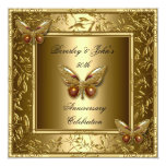 Elegant 50th Wedding Anniversary Gold Butterfly Personalized Invites