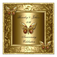 Elegant 50th Wedding Anniversary Gold Butterfly Personalized Invites (<em>$2.31</em>)