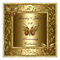 Elegant 50th Wedding Anniversary Gold Butterfly 5.25x5.25 Square Paper Invitation Card (<em>$2.20</em>)