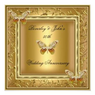 Elegant 50th Wedding Anniversary Gold Damask Card
