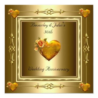 Elegant 50th Wedding Anniversary Gold Hearts Card
