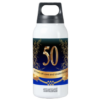 Elegant 50th Wedding Anniversary Insulated Water Bottle