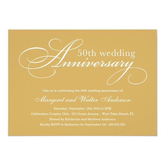 Gift Giving Etiquette 50th Wedding Anniversary : ELEGANT 50TH WEDDING ANNIVERSARY INVITATION Zazzle