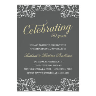 Elegant 50th Wedding Anniversary Party Card