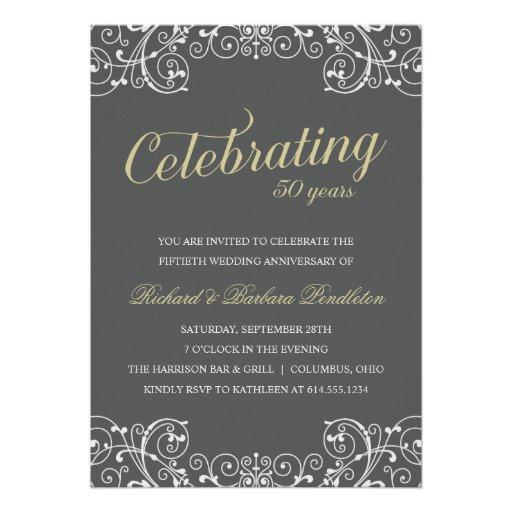 "Elegant 50th Wedding Anniversary Party 5"" X 7"" Invitation ..."