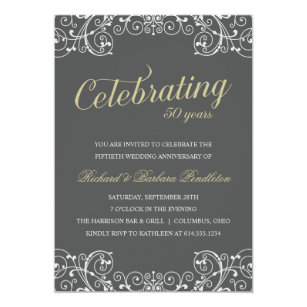 Anniversary party invitations announcements zazzle elegant 50th wedding anniversary party invitation stopboris Images