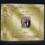 """Elegant 50th Wedding Anniversary Photo 2&quot; Binder<br><div class=""""desc"""">A Digitalbcon Images Design featuring a Gold color and Glitter Flourish Frame theme with a variety of custom images, shapes, patterns, styles and fonts in this one-of-a-kind &quot;Golden Wedding Anniversary&quot; 2&quot; Photo Binder. This elegant and attractive design comes with customizable Photo image and text lettering on the front and is...</div>"""