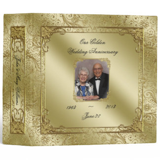 "Elegant 50th Wedding Anniversary Photo 2"" Binder"