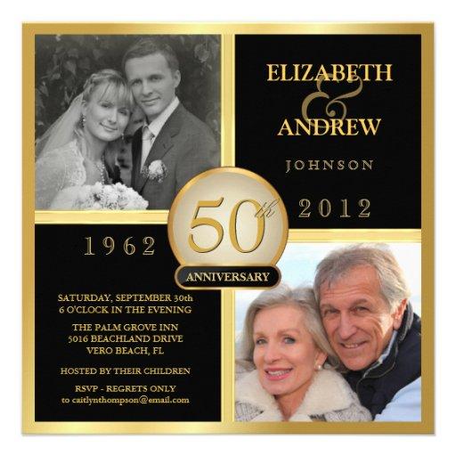 Elegant 50th Wedding Anniversary Photo Invitations (front side)