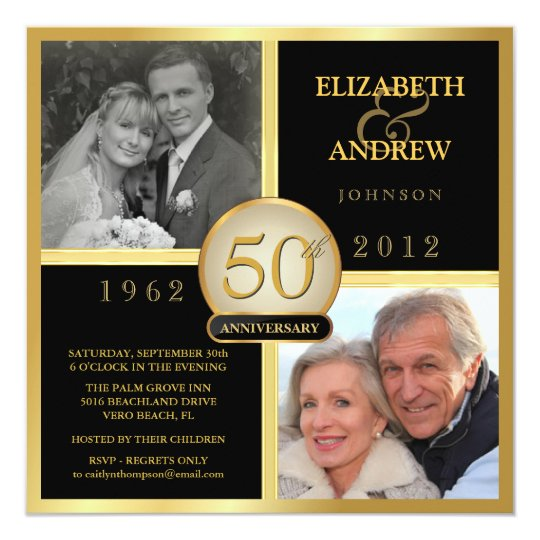 Elegant 50th Wedding Anniversary Photo Invitations | Zazzle