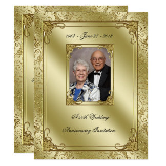 Elegant 50th Wedding Anniversary Photo Invite