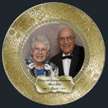 "Elegant 50th Wedding Anniversary Photo Plate<br><div class=""desc"">A Digitalbcon Images Design featuring a gold color and flourish design theme with a variety of custom images, shapes, patterns, styles and fonts in this one-of-a-kind &quot;Elegant 50th Wedding Anniversary&quot; Photo Porcelain Plate. This elegant and attractive design comes complete with customizable text lettering and photo insert to suit your own...</div>"