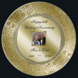 """Elegant 50th Wedding Anniversary Photo Plate<br><div class=""""desc"""">A Digitalbcon Images Design featuring a gold color and flourish design theme with a variety of custom images, shapes, patterns, styles and fonts in this one-of-a-kind &quot;Elegant 50th Wedding Anniversary&quot; Photo Porcelain Plate. This elegant and attractive design comes complete with customizable text lettering and photo insert to suit your own...</div>"""